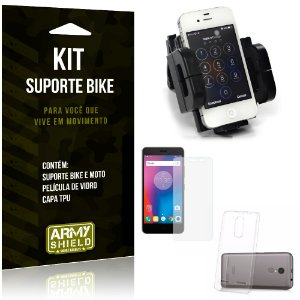 Kit Suporte Moto Bike Lenovo K6 Suporte + Película + Capa - Armyshield
