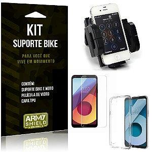 Kit Suporte Moto Bike LG Q6 Plus Suporte + Película + Capa - Armyshield