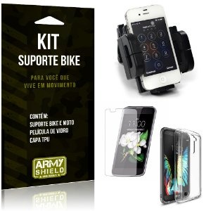 Kit Suporte Moto Bike LG K10 Suporte + Película + Capa - Armyshield