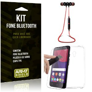 Kit Fone Bluetooth KD901 Alcatel Pixi 4 - 5.0' Fone + Película + Capa - Armyshield