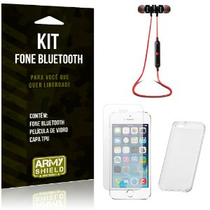 Kit Fone Bluetooth KD901 Apple iPhone 5 - 5S - 5SE Fone + Película + Capa - Armyshield