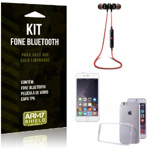 Kit Fone Bluetooth KD901 Apple iPhone 6 Plus - 6S Plus Fone + Película + Capa - Armyshield