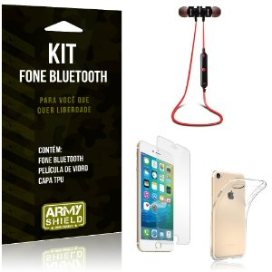 Kit Fone Bluetooth KD901 Apple iPhone 8 Fone + Película + Capa - Armyshield