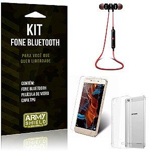 Kit Fone Bluetooth KD901 Lenovo K5 Fone + Película + Capa - Armyshield