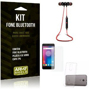 Kit Fone Bluetooth KD901 Lenovo K6 Fone + Película + Capa - Armyshield
