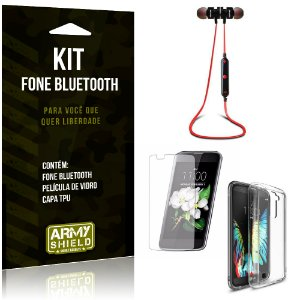 Kit Fone Bluetooth KD901 LG K10 Fone + Película + Capa - Armyshield