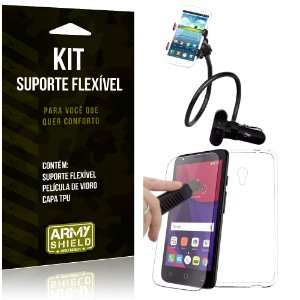 Kit Suporte Flexível Alcatel Pixi 4 - 5.0' Suporte + Película + Capa - Armyshield