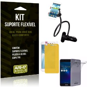 Kit Suporte Flexível Asus Zenfone 3 Max - 5.2' ZC520TL Suporte + Película + Capa - Armyshield