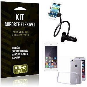 Kit Suporte Flexível Apple iPhone 6 - 6S Suporte + Película + Capa - Armyshield