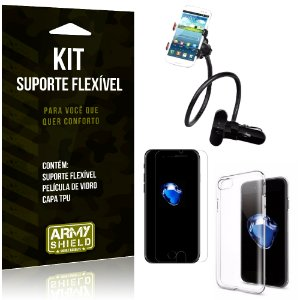 Kit Suporte Flexível Apple iPhone 7 Suporte + Película + Capa - Armyshield