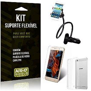 Kit Suporte Flexível Lenovo K5 Suporte + Película + Capa - Armyshield