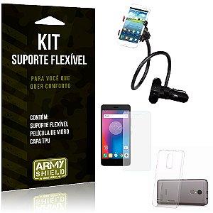Kit Suporte Flexível Lenovo K6 Suporte + Película + Capa - Armyshield
