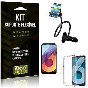 Kit Suporte Flexível LG Q6 Plus Suporte + Película + Capa - Armyshield
