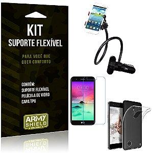 Kit Suporte Flexível LG K10 Novo (2017) Suporte + Película + Capa - Armyshield