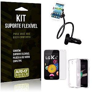 Kit Suporte Flexível LG K4 Suporte + Película + Capa - Armyshield