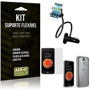 Kit Suporte Flexível LG K7 Suporte + Película + Capa - Armyshield