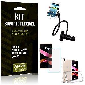 Kit Suporte Flexível LG X Style Suporte + Película + Capa - Armyshield