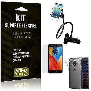 Kit Suporte Flexível Motorola Moto E4 Suporte + Película + Capa - Armyshield