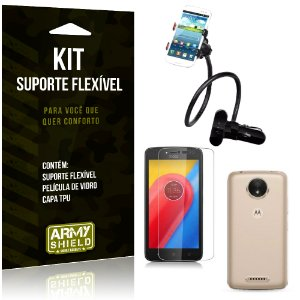 Kit Suporte Flexível Motorola Moto C Plus Suporte + Película + Capa - Armyshield