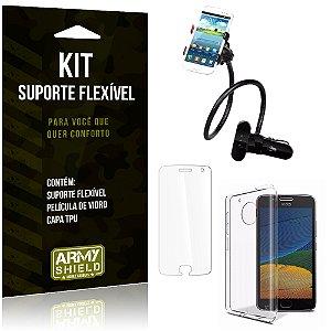 Kit Suporte Flexível Motorola Moto G5 Suporte + Película + Capa - Armyshield
