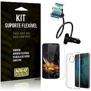 Kit Suporte Flexível Motorola Moto G5S Plus Suporte + Película + Capa - Armyshield