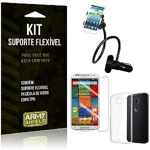 Kit Suporte Flexível Motorola Moto X 2 Suporte + Película + Capa - Armyshield