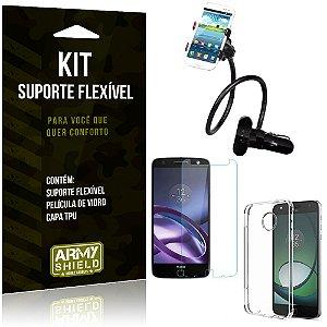 Kit Suporte Flexível Motorola Moto Z Force Suporte + Película + Capa - Armyshield