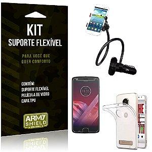 Kit Suporte Flexível Motorola Moto Z2 Play Suporte + Película + Capa - Armyshield