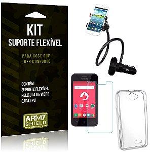 Kit Suporte Flexível Positivo One S420 Suporte + Película + Capa - Armyshield