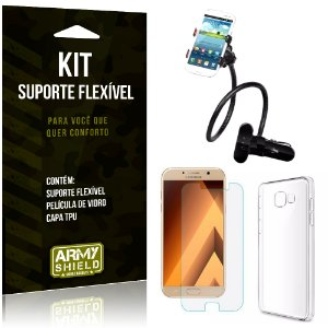 Kit Suporte Flexível Samsung Galaxy A3 (2017) Suporte + Película + Capa - Armyshield