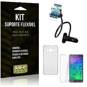 Kit Suporte Flexível Samsung Galaxy A7 (2015) Suporte + Película + Capa - Armyshield