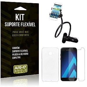 Kit Suporte Flexível Samsung Galaxy A7 (2017) Suporte + Película + Capa - Armyshield