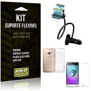Kit Suporte Flexível Samsung Galaxy J1 (2016) Suporte + Película + Capa - Armyshield