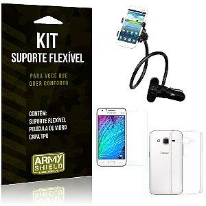 Kit Suporte Flexível Samsung Galaxy J2 (2015) Suporte + Película + Capa - Armyshield