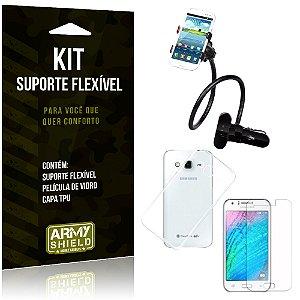 Kit Suporte Flexível Samsung Galaxy J3 (2015) Suporte + Película + Capa - Armyshield