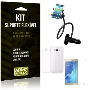 Kit Suporte Flexível Samsung Galaxy J7 (2016) Suporte + Película + Capa - Armyshield