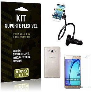 Kit Suporte Flexível Samsung Galaxy On7 Suporte + Película + Capa - Armyshield
