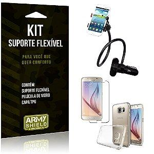 Kit Suporte Flexível Samsung Galaxy S6 Suporte + Película + Capa - Armyshield