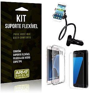 Kit Suporte Flexível Samsung Galaxy S7 Edge Suporte + Película + Capa - Armyshield