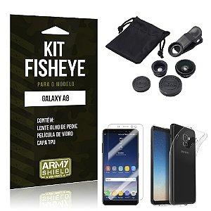 Kit Fisheye Galaxy A8 Lentes + Película + Capa - Armyshield