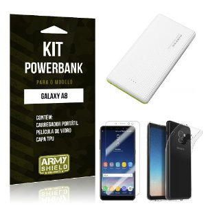 Kit Powerbank Tipo C Galaxy A8 Powerbank + Película + Capa - Armyshield