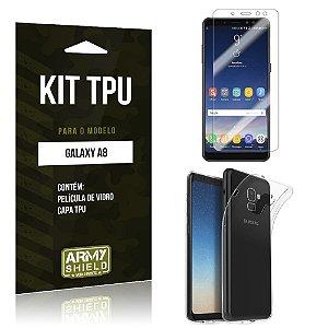 Kit Capa Silicone Galaxy A8 Película + Capa - Armyshield