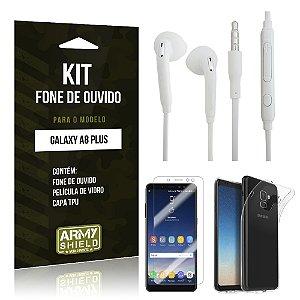Kit Fone de Ouvido Galaxy A8 Plus Fone + Película + Capa - Armyshield
