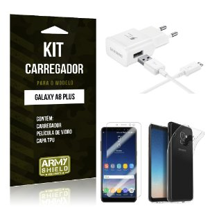 Kit Carregador Tipo C Galaxy A8 Plus Carregador + Película + Capa - Armyshield