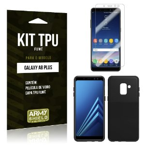 Kit Capa Fumê Galaxy A8 Plus Película + Capa Fumê - Armyshield