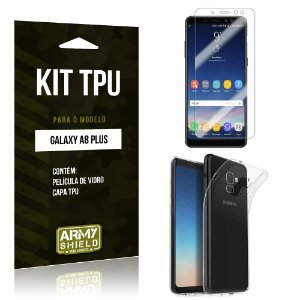 Kit Capa Silicone Galaxy A8 Plus Película + Capa - Armyshield