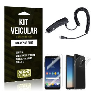 Kit Carregador Veicular Tipo C Galaxy A8 Plus Carregador + Película + Capa - Armyshield