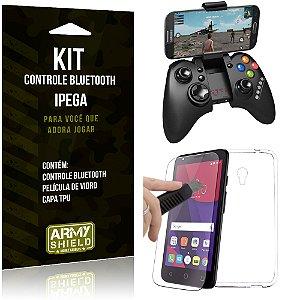 Kit Controle Bluetooth Alcatel Pixi 4 - 5.0' Controle + Película + Capa - Armyshield