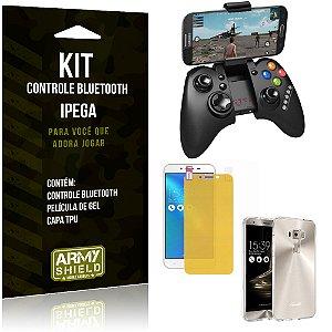 Kit Controle Bluetooth Asus Zenfone 3 - 5.5' ZE552KL Controle + Película + Capa - Armyshield