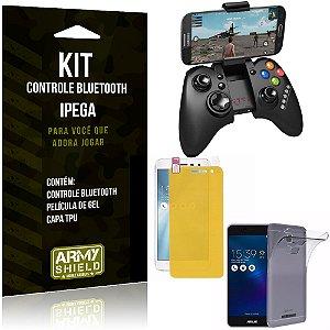Kit Controle Bluetooth Asus Zenfone 3 Max - 5.2' ZC520TL Controle + Película + Capa - Armyshield